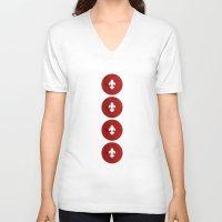 fleur de lis V-neck T-shirts featuring Polka Fleur de Lis by Paula Belle Flores