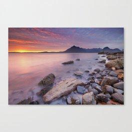 II - Spectacular sunset at the Elgol beach, Isle of Skye, Scotland Canvas Print