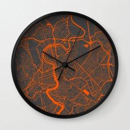 Rome Map orange Wall Clock