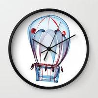 ballon Wall Clocks featuring Hot Air Ballon by Ann Garrett