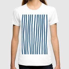 Hand Drawn Stripes Classic Blue Vertical T-shirt