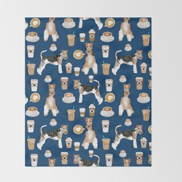 Wire Fox Terrier coffee dog pattern dog lover gifts for dog person dog breeds pet friendly Throw Blanket