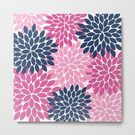 Flower Burst Petals Navy Pink Metal Print