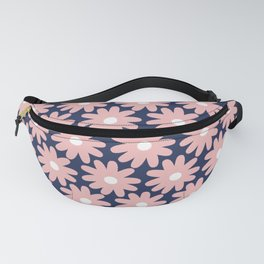 Crayon Flower Smudgy Floral Pattern in Pink, White, and Navy Blue Fanny Pack
