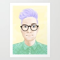 tyler oakley Art Prints featuring Tyler Oakley by Bloody Rainbow