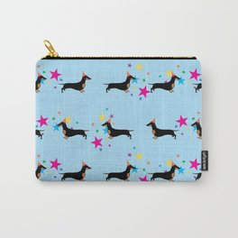 Party Dachshund Dog with Party Hat and Confetti on Blue Background Carry-All Pouch