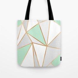 Mint Green, Grey & Gold Geo Tote Bag