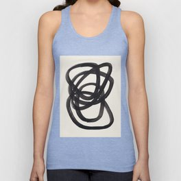 Mid Century Modern Minimalist Abstract Art Brush Strokes Black & White Ink Art Spiral Circles Unisex Tanktop