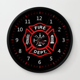 Fire Department Red Badge Wall Clock