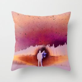Searching, pastel pencil Throw Pillow