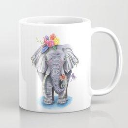 Elephant Art with Flower Crown Coffee Mug