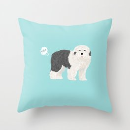 old english sheepdog farting dog cute funny dog gifts pure breed dogs Throw Pillow