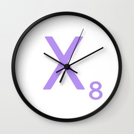 Letter X Lavender Monogram Scrabble Wall Clock