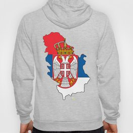 Serbia Map with Serbian Flag Hoody