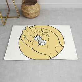 Hand Rolling The Dice Drawing Rug