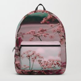 Pink Baby's Breath White Pink Blossoms Against Turquoise Background Backpack
