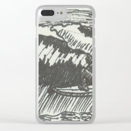 Barrelled in Black & White Clear iPhone Case