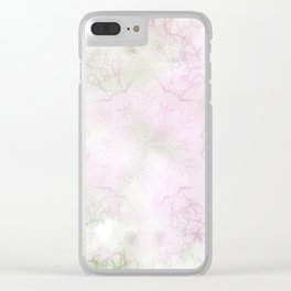Delicate textured mandala in pink and green Clear iPhone Case
