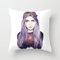 cara delevingne Throw Pillows featuring Cara Delevingne by Alana Mays Creative