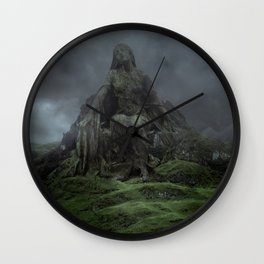 Giant Goddess Statue on a Green Hilly Landscape Wall Clock