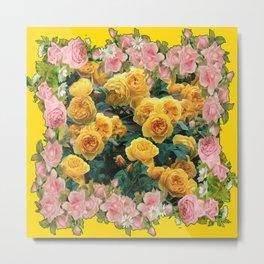 PINK & YELLOW SPRING ROSES GARDEN VIGNETTE Metal Print