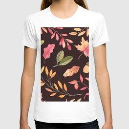 Pink orange yellow brown watercolor fall acorn leaves T-shirt