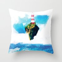gorillaz Throw Pillows featuring Lighthouse by Vadim Cherniy