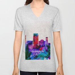 Gurgaon Skyline Unisex V-Neck