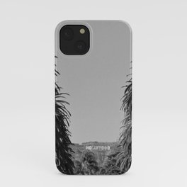 Hollywood Sign, Hancock Park Street view line by palm trees black and white photograph iPhone Case