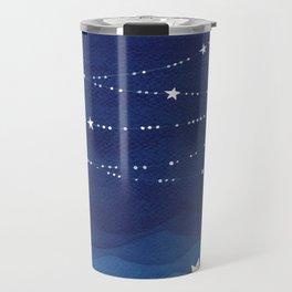 night sky, ocean painting Travel Mug