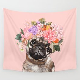 Pug with Flower Crown Wall Tapestry