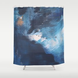 Ships in the Night: a vibrant abstract mixed-media piece in blues and golds by Alyssa Hamilton Art Shower Curtain