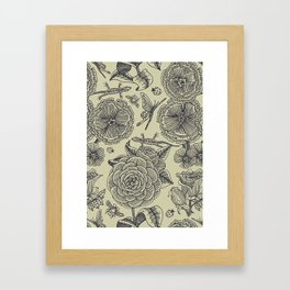 Garden Bliss - vintage floral illustrations  Framed Art Print