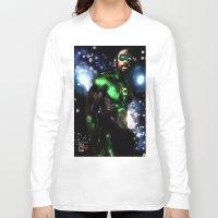 john green Long Sleeve T-shirts featuring John Stewart : The Green Lantern by André Joseph Martin