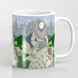 Lady with an owl and a dog Coffee Mug