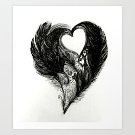 Feathers and Hearts Psalm 91:4 Art Print