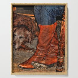 Boots and Buddy Painted Serving Tray