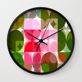 Pink Roses in Anzures 4 Abstract Circles 3 Wall Clock