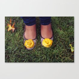 Yellow Flower Shoe! Canvas Print