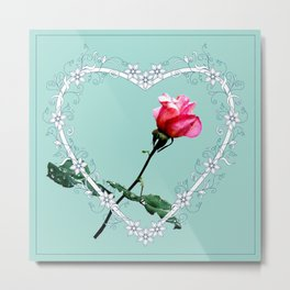 Heart with pink rose Metal Print