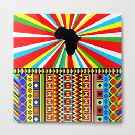 Kente Cloth Pattern with Africa Continent Sun Metal Print