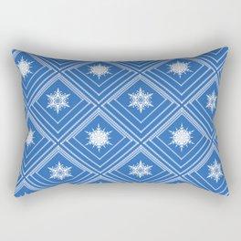 Geometric pattern with snowflakes.White snowflakes on blue Rectangular Pillow