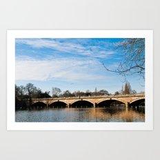 Serpentine Bridge and Lake in London Art Print