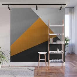 Metallic I - Abstract, geometric, metallic textured gold, silver and black metal effect artwork Wall Mural