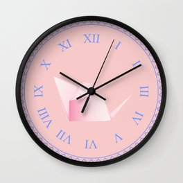 Paper folded, origami pink mouse or rat design Wall Clock