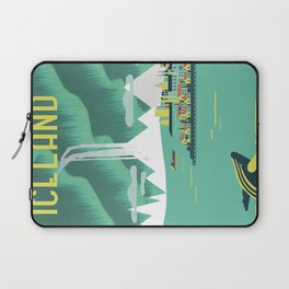 Vintage Mid Century Modern Iceland Scandinavian Travel Poster Ocean Whale Winter Village Laptop Sleeve