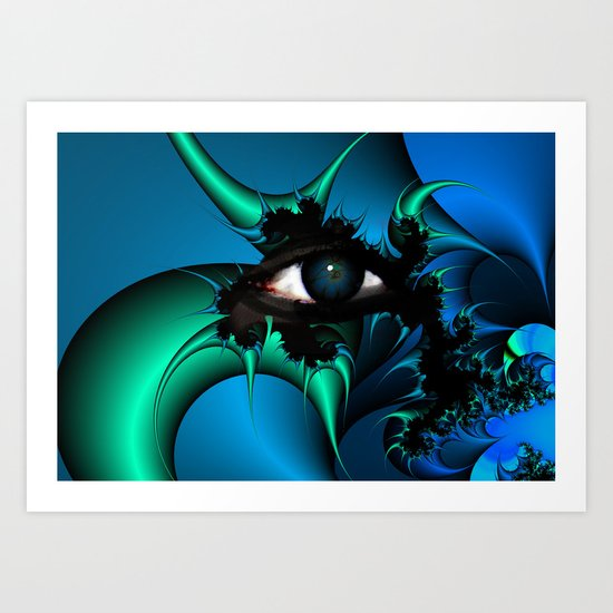 Blue and Green Fractal Eye Art Print