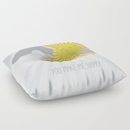 KAWAII SKY - smiling sun in grey clouds - you make me happy Floor Pillow