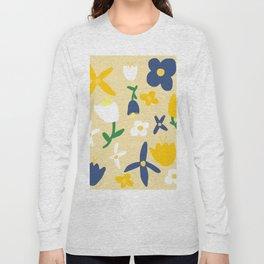 Yellow and Blue Daisy May Pattern Long Sleeve T-shirt