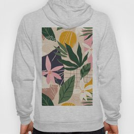 Collage contemporary floral orchids and abstract shapes Hoody